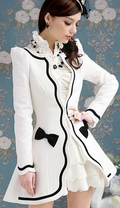 Penelope Coat Black White and Victorian