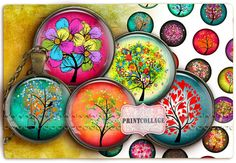 Digital Collage Sheet - Trees - Cabochon images 1.5inch 18mm 14mm 1inch circle Printable images Instant download bottle caps c159