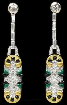 Pair of earrings Place of origin: Paris, France (made) Date: ca. 1920-1930 (made) Artist/Maker: Chaumet (manufacturer) Materials and Techniques: Platinum, gold, enamel, and baguette-and brilliant-cut diamonds