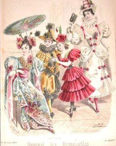February 1896 Journal des Demoiselles.  Japanese lady Jester, rose,Peirette in pink
