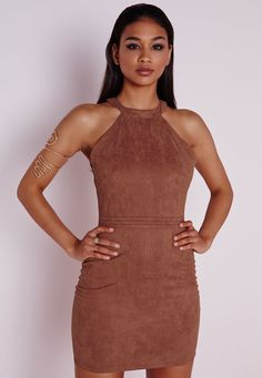 Faux Suede Topstitch Bodycon Dress Tan - Dresses - Bodycon Dresses - Missguided