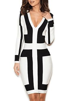 Ke Women Long Sleeve V Neck Sexy Club Party Bodycon Bandage Dress Small --  Click for more Special Deals  Fitness Ladies Yoga Exercise Power Fashion f7e52a80b