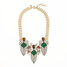 Deco arrowhead necklace from J. Crew - Absolutely dying for this necklace, with its deco organic forms that remind me of pinecones or dangling wisteria blossoms.