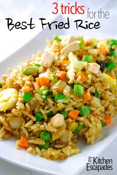 Chicken Fried Rice Recipe - 3 Tricks to the Best Take-Out at Home - Rice Recipes Best Chicken Fried Rice Recipe, Fried Chicken, Chicken Recipes, Easy Fried Rice, Stir Fried Rice Recipe, Fried Rice With Egg, Stir Fry Rice, Shrimp Fried Rice, Recipe Chicken