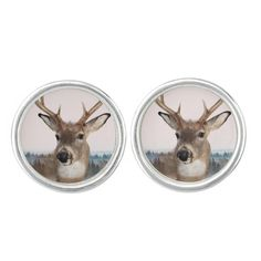 Whitetail Deer Double Exposure Round Cufflinks