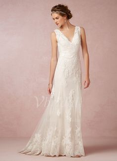 Trumpet/Mermaid V-neck Sweep Train Tulle Lace Covered Button Regular Straps Sleeveless Garden / Outdoor Reception General No Spring Summer Fall Ivory White Wedding Dress