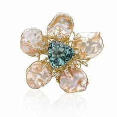 Russell Trusso Blue Topaz, Diamond and Pearl Flower Brooch, 18-karat yellow gold, South Sea cultured pearls, 19 mm, Blue topaz, 23.20 cts, Diamonds, 0.56 ctw