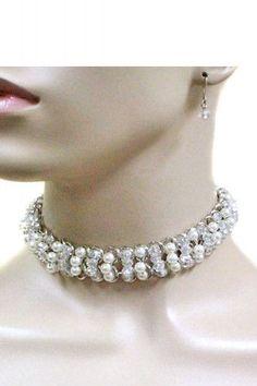 "13"" crystal faux pearl choker collar necklace .75"" wide .25"" earrings"