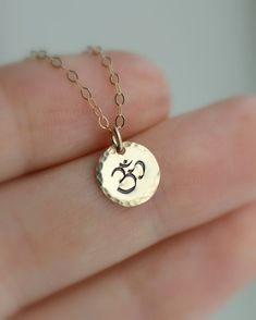 Tiny OM Necklace Ohm Necklace Yoga Jewelry by LRoseDesigns on Etsy