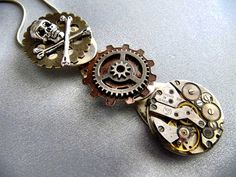 Steampunk Necklace, Gothic Victorian, Steampunk Jewelry, Skull, Gears, Watch Parts, Gift Under 30 Dollars on Etsy, $35.00