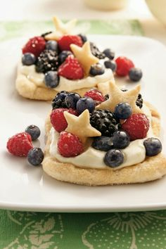 Red and blue fruit and pastry stars make it perfect for any patriotic occasion - vary the cutout shapes for another celebration.