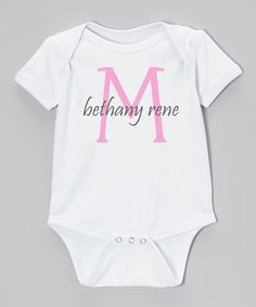 Another great find on #zulily! White & Pink Personalized Bodysuit - Infant #zulilyfinds