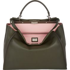 Fendi Peekaboo Large Bag ($4,250) ❤ liked on Polyvore featuring bags, handbags, shoulder bags, fendi, green, fendi purses, green handbags, shoulder strap handbags and black shoulder bag