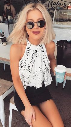 summer outfits White Dotted Top + Black Denim Skirt
