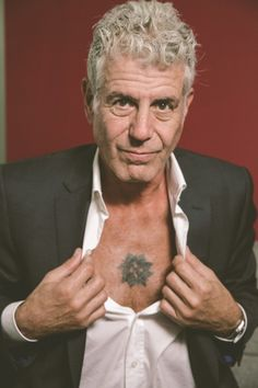 Yes, Anthony Bourdain Really is That Cool: A Close Encounter with a Food Rock Star, Chest Baring Included Anthony Bourdain Tattoos, Anthony Bordain, Anthony Bourdain Parts Unknown, Close Encounters, My Heart Is Breaking, Mens Clothing Styles, Vanity Fair, Hot Guys, Hot Men