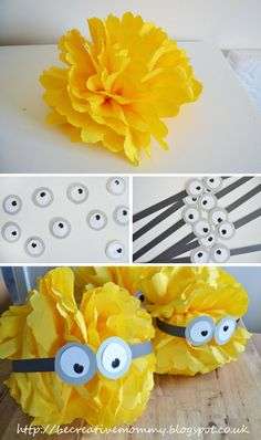 Tutorial: Tissue Paper Pom Poms - Minions Birthday Party.