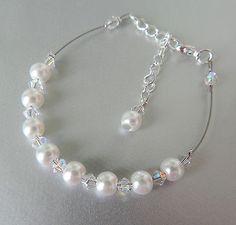 bracelet CRISTAL SWAROVSKI BLANC PERLE VERRE / fil cablé / mariage/soirée/mariée €7