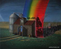 Andre Schulze Regenbogen Oil on Canvas Painting Eastgerman Art Ölmalerei Kunst Surreal