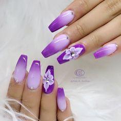 """May 2020 - Explore weddingsonlyin's board """"Bridal Nail Art Designs Violet Nails, Purple Acrylic Nails, Purple Nail Art, Purple Nail Designs, Acrylic Nail Designs, Nail Art Designs, Purple Ombre Nails, Beautiful Nail Art, Gorgeous Nails"""