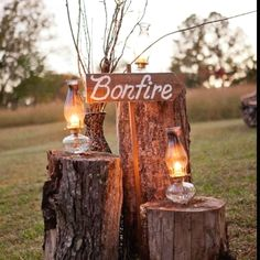 """Rustic / Country Wedding; Cute idea for a country-themed wedding reception! (to make this a bit more """"fireproof,"""" so the farm doesn't go up in flames, use those old train caboose lanterns with a lightbulb in them)"""