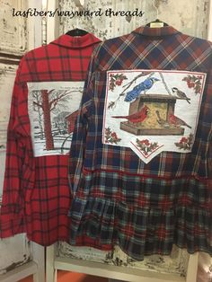 flannel shirts embellish with vintage linen scenes.