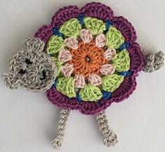 Lambaala Crochet Pattern by Sabina Poonwassies. This is described as a brooch or bag charm, but I can definitely see it in my kitchen, it would make some fun bunting. Crochet Sheep, Easter Crochet, Love Crochet, Knit Crochet, Crochet Hats, Crochet Animals, Crochet Motif Patterns, Applique Patterns, Yarn Organization