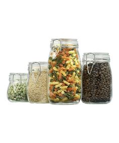 This Round Clamp-Top Canister Set by Anchor Hocking is perfect! Glass Storage Jars, Storage Canisters, Glass Canisters, Jar Storage, Kitchen Organization Pantry, Storage Organization, Things I Need To Buy, Small Room Design, Canister Sets