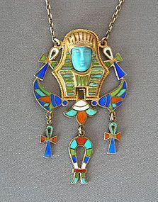 EGYPTIAN REVIVAL ART DECO 800 SILVER & ENAMEL PENDANT