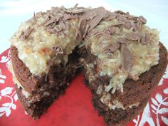 German Chocolate - Rich chocolate cake with coconut & pecan icing and chocolate shavings German Chocolate, Chocolate Cake, Coconut Pecan, Chocolate Shavings, Icing, Pie, Desserts, Food, Bolo De Chocolate