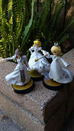 The waifu trio! Princess Peach, Rosalina, and Zelda look great in this white and silver color scheme. Even Luma is dressed for the occasion.  Work great as wedding cake toppers! Custom amiibo by me :) find my etsy @ https://www.etsy.com/shop/PeachyCustoms