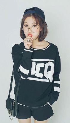 Fashiontroy Street style long sleeves crew neck black letter printed cotton fleeced sweatshirt