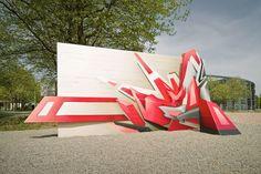 """Artist: Mirko Reisser (DAIM)   """"Die Mauersprengung""""   Sculpture   240 x 500 x 200 cm   2006   Exhibition: """"sculpture@CityNord""""   Hamburg / Germany   #daim, #urbanart, #graffiti"""