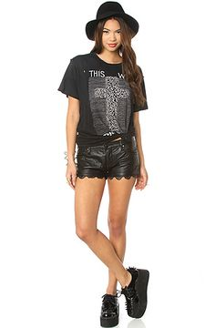 BLANK NYC Shorts Faux Leather Laser Hem in Coachella : http://MissKL.com - Cutting Edge Womens Fashion, Accessories and Shoes.