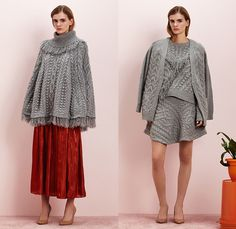 Rhié by Rie Yamagata 2015-2016 Fall Autumn Winter Womens Lookbook Presentation - Chunky Knit Poncho Hanging Sleeve Cape Plaid Wide Leg Trousers Palazzo Pants Culottes Gauchos Skirt Frock Sheer Chiffon Fleece Peel Away Fringes Furry Shaggy Gingham Checks Embroidery Turtleneck Cardigan Shorts Concave Curved Hem Multi-Panel Dress