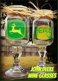 "OMG... this is SO me! Look, it even says ""HERS""! John Deere Redneck Wine Glass by lyricalletters on Etsy, $12.50"