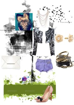 """""""Chanel inspired jacket and blue cutoffs"""" by norabetcher on Polyvore"""
