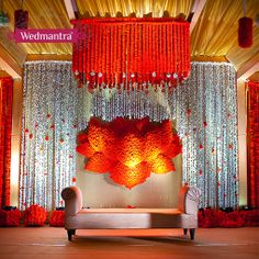 Auspicious lotus motif backdrop for the stage. #wedmantra #weddinginindia…