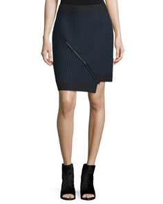 TC0WV Opening Ceremony Mixed-Stitch Zip-Front Skirt, Black/Multi