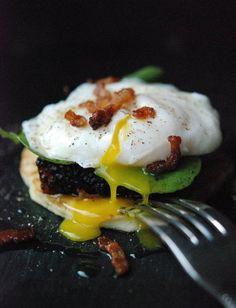 Poached Egg, Crispy Pork Belly, & Watercress On Rice Flour-Potato Pancake with Bacon-Maple Vinaigrette