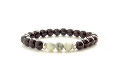 8mm GREY Beads Bracelet, Mens Black Beads Bracelet, Womens Gem Stone Bracelet, Stacking Yoga Bracelet, Mens Gift, Unique gift for her by knotwrap on Etsy