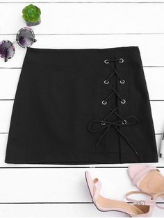 Shop for High Waisted Lace Up Bodycon Skirt BLACK: Skirts S at ZAFUL. Only $20.41 and free shipping!