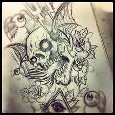 Sketch For Sleeve Tattoo Skull Flames Illuminati Allseeingeye