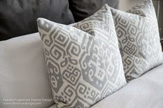 Two beautiful Ikat custom-made designer pillows in grey and ivory. Designed by Natalie Fuglestveit Interior Design. Sold in Canada for $134ea.