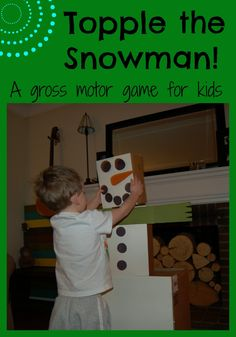 Today we'll let kids knock down and stack up till their hearts content, while challenging gross motor skills along the way. If you're looking for fun indoor activities for kids this winter, today's Topple the Snowman game is for you! Snow Activities, Gross Motor Activities, Indoor Activities For Kids, Holiday Activities, Preschool Activities, Therapy Activities, Physical Activities, Snow Theme, Winter Theme