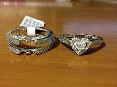 14k White Gold Bridal Wedding Heart Shape Diamonds Set Ring Vintage Cathedral