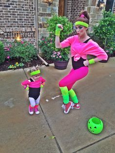 Mommy Toddler Costume #Halloween #HomemadeCostume #ToddlerCostume #WorkoutCostume #80s
