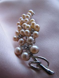 Feather PEACH Pearl & Diamante Studded Brooch by twopearlsinapod, $20.00