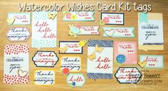 Stampin' Up! Watercolor Wishes card kit embellishment tags ready to add to my 20 cards
