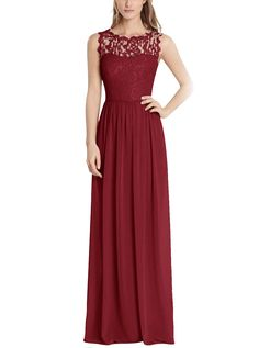 Tideclothes Long Chiffon Bridesmaid Dress Lace See-through Prom Dress Burgundy US8