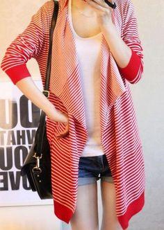 Korean Style All Match Loose Stripe Irregular Loose